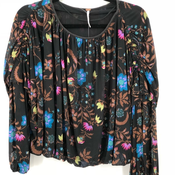 cd25948b8a0eed Free People Tops | Black Floral Mesh Long Sleeved Shirt | Poshmark